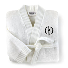 Load image into Gallery viewer, folded white bamboo bathrobe with monogram