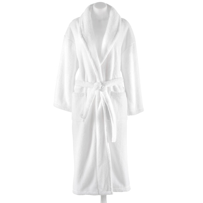Calista Plush Poly Robe in white