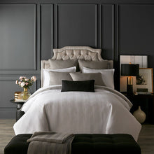Load image into Gallery viewer, glam dark bedroom with white gray black bedding