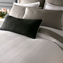 Load image into Gallery viewer, white bedding with gray and black pillows