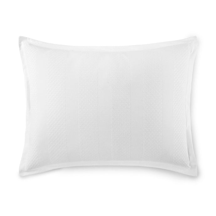 white textured striped pillow sham