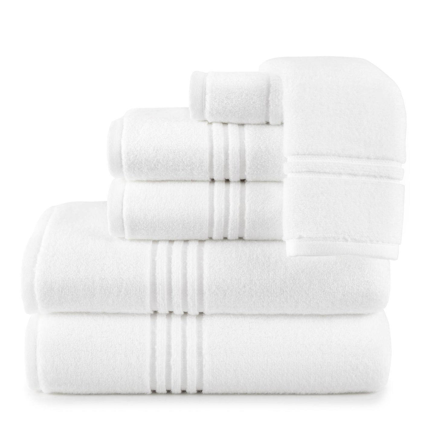 white stack of cotton bath towels