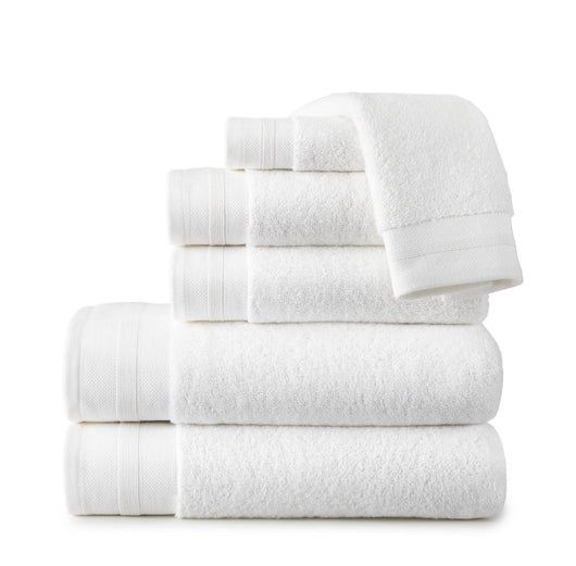 stack of folded white turkish cotton bath towels