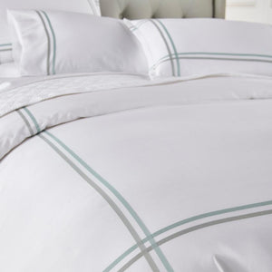 detail view of duo duvet in sage