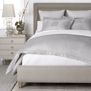 Elise jacquard duvet and shams with white coverlet