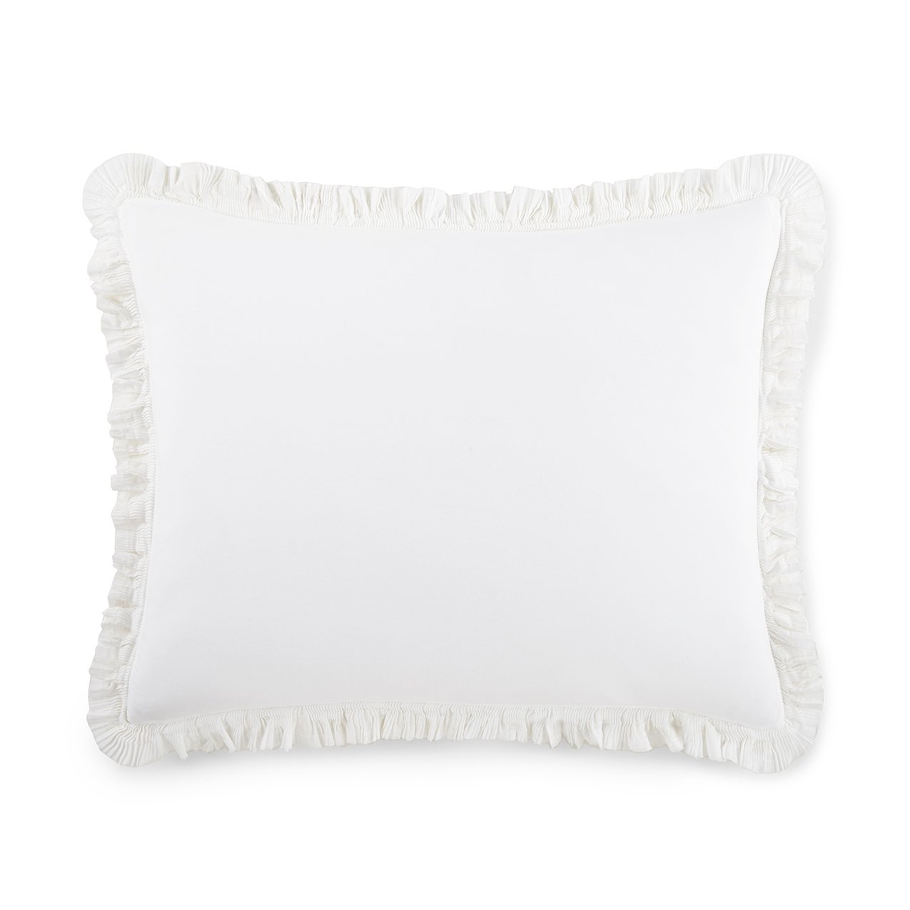 white ruffled edge pillow sham