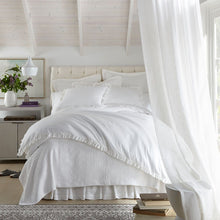 Load image into Gallery viewer, all white ruffled bedding in a light bedroom