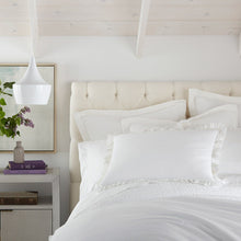 Load image into Gallery viewer, all white bedding with ruffled pillow shams