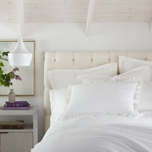 all white bedding with ruffled pillow shams