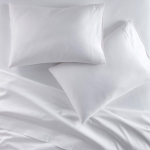 Emily Egyptian cotton sheet set in White on bed