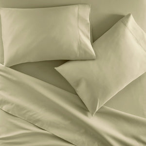 Emily Egyptian cotton sheet set in Mushroom on bed