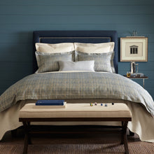 Load image into Gallery viewer, Italian jacquard blue duvet cover and shams lifestyle men's bed