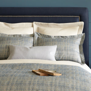 Italian jacquard shams and duvet cover in blue