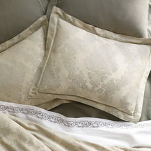 Load image into Gallery viewer, Two Italian jacquard shams in platinum with hues of champagne and grey