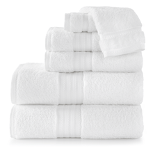 Load image into Gallery viewer, stack of white cotton bath towels