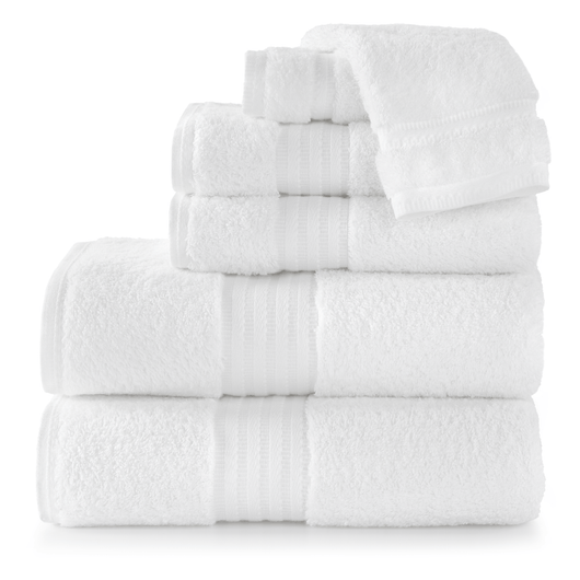 stack of white cotton bath towels
