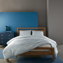 Load image into Gallery viewer, denim blue Fern duvet cover and sleeping shams