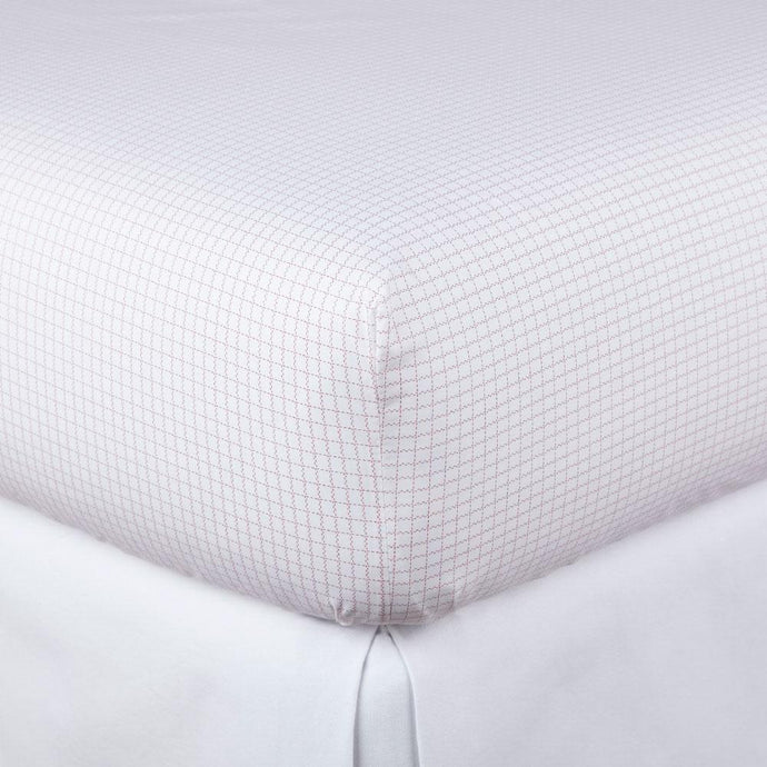 Grid Berry Percale Fitted Sheet