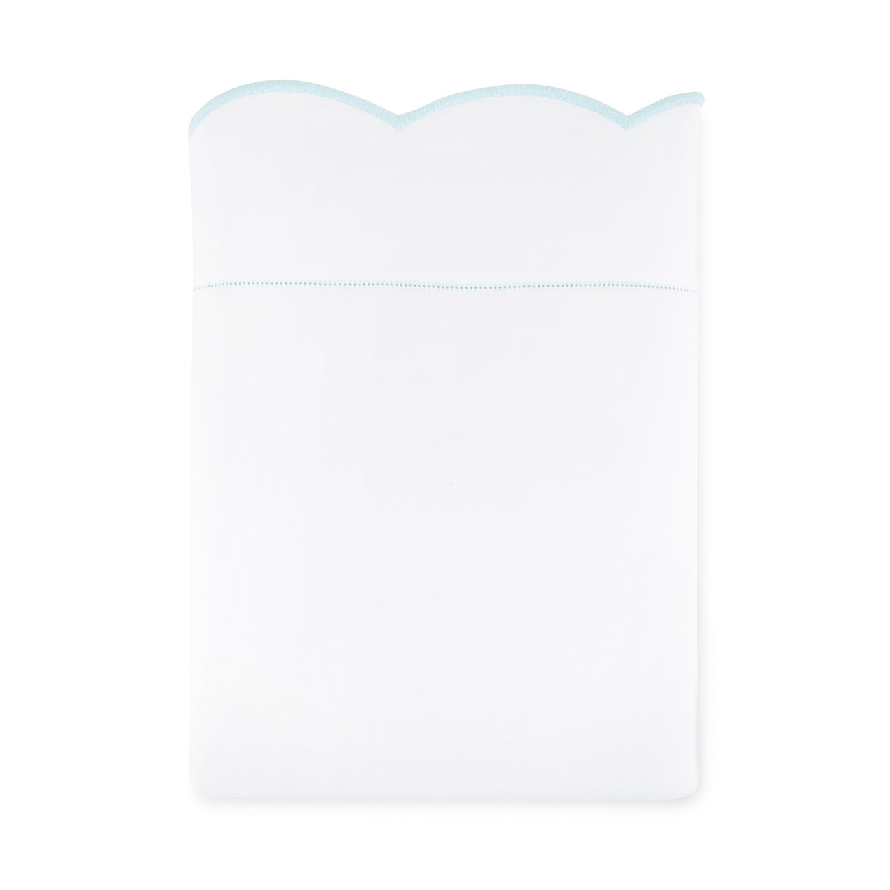 scalloped flat sheet with blue embroidered edge and hemstitch