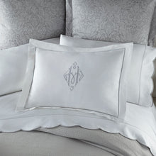 Load image into Gallery viewer, gray and white bedding and scalloped pillow cases and sheets
