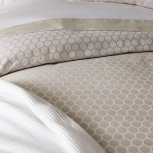 neutral honeycomb patterned duvet cover