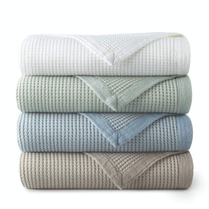 Stack of Hudson Waffle Weave Blankets