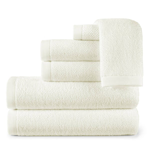 stack of jubilee cotton towels in ivory