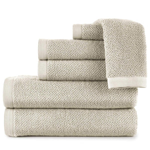 stack of jubilee cotton towels in linen