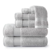 Load image into Gallery viewer, stack of light grey Liam Towel Collection