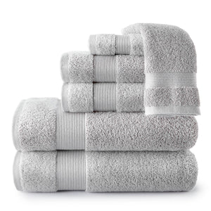 stack of light grey Liam Towel Collection