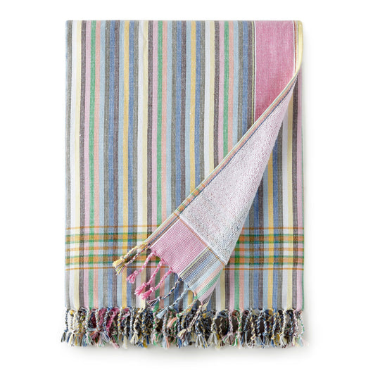 rainbow striped turkish cotton beach towel with tassels