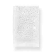 Load image into Gallery viewer, folded white damask pattern hand towel