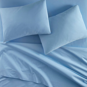 40 winks denim blue percale flat sheet and pillowcases