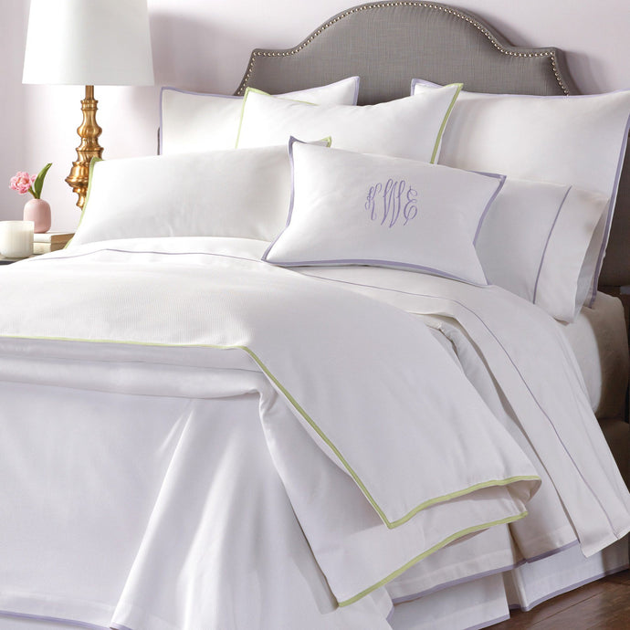 All white Pique II classic bedding