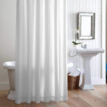 Load image into Gallery viewer, Hanging Pique Shower curtain White Trim in bathroom