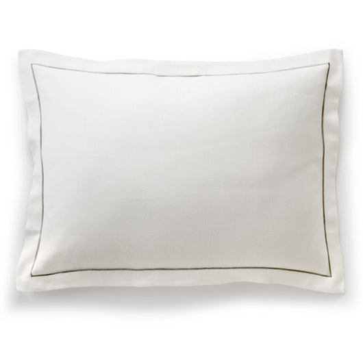 Flat lay of a linen throw pillow with satin stitch and flange