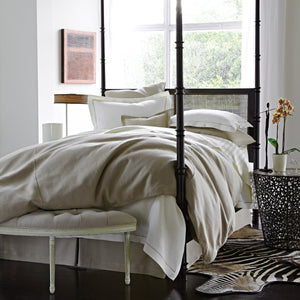 Brown linen corded duvet cover on a masculine bed