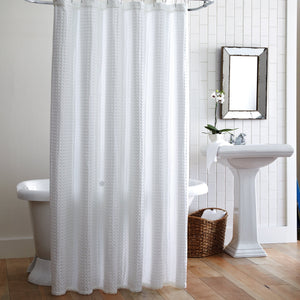 White waffle weave luxury shower curtain with freestanding tub and vanity