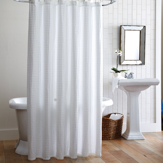 white waffle shower curtain. White Waffle Weave Luxury Shower Curtain With Freestanding Tub And Vanity F