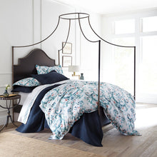 Load image into Gallery viewer, Aqua green French medallion sateen duvet cover and sateen sham in a canopy bed
