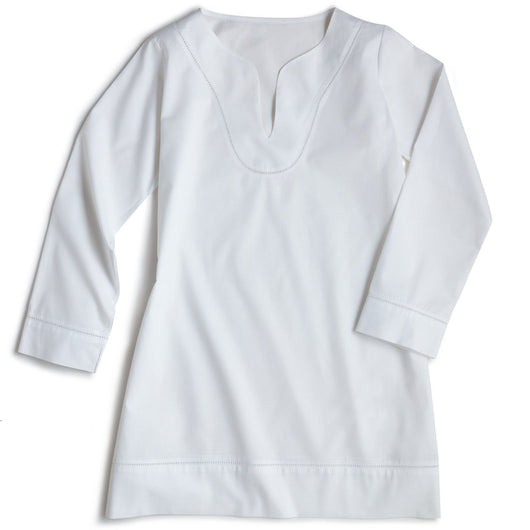 White luxury cotton tunic flat lay image in small and large sizes