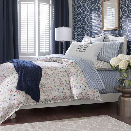 Chloe Floral Percale Duvet Cover Peacock Alley