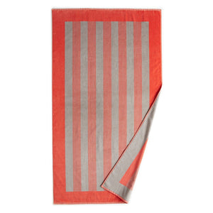 Soleil Striped Beach Towel Coral folded