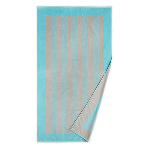Soleil Striped Beach Towel Aqua folded