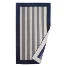 Load image into Gallery viewer, Soleil Striped Beach Towel Navy folded