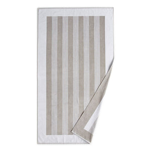 Soleil Striped Beach Towel white folded