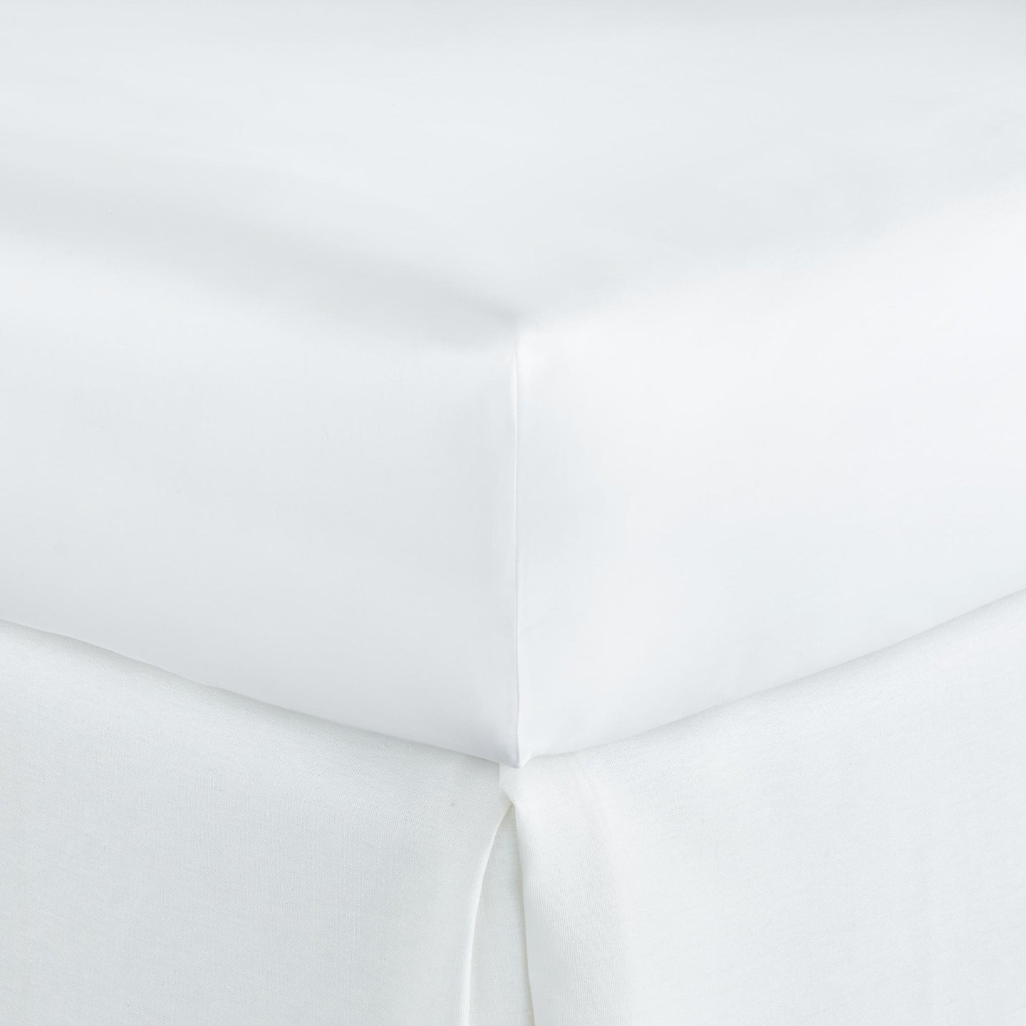 duo cotton sateen fitted sheet on a mattress