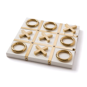 white and gold tic tac toe board game