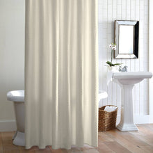 Load image into Gallery viewer, Alyssa Ivory shower curtain hanging in front of tub in bathroom with mirror and sink