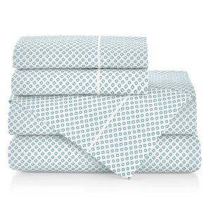 Emma Sateen Sheets Stacked Aqua geometrical pattern